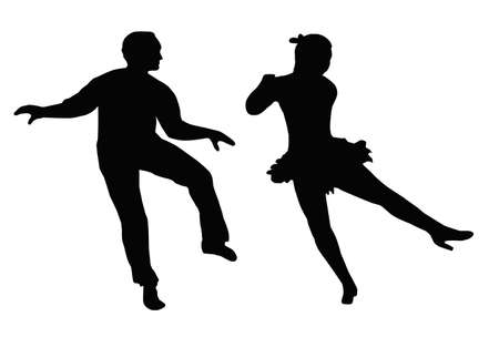 Dancing Couple Silhouette Synchronized Steps Side Kick