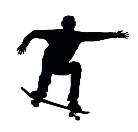 Skateboarding Skater do Ollie Jump with Board Vector