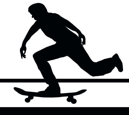 Skateboarding Skater Building Up Speed on Skateboard Vector