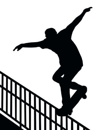 stunt: Skateboarding Skater do Nosegrind Rail Slide with Board Silhouette