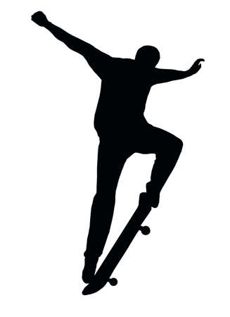 Skateboarding Skater do Nosegrind with Board Silhouette Vector