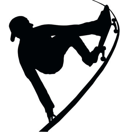 Skateboarding Skater do Grab Turn on Vert Ramp Vector