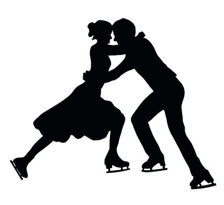 Silhouette of Ice Skater Couple in Embrace Vector