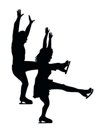 Silhouette of Ice Skater Couple Front Kick Vector