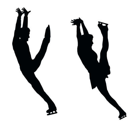 Silhouette of Ice Skater Couple High Kick Vector