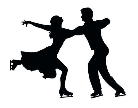 Silhouette of Ice Skater Couple in Embrace Back Kick Vector