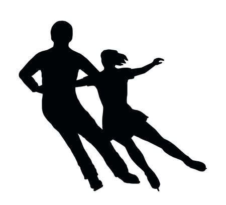 Silhouette of Ice Skater Couple Side by Side Turn Vector