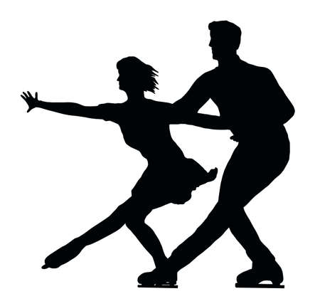 Silhouette of Ice Skater Couple Side by Side Vector