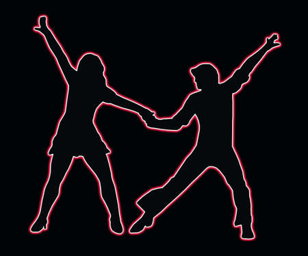 Lets Party 70s Dancing Neon Outline Couple Silhouette  photo