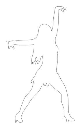 heals: Outline Dancing Girl with Spread Arms in Sexy Pose  Silhouette