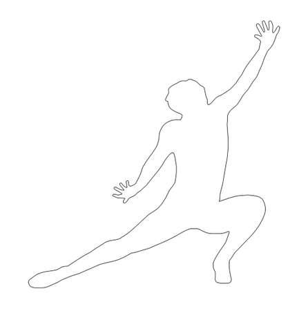 Outline Dancing Lady Kneeling Spread Leg Pose Silhouette photo