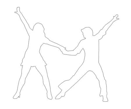dancers silhouette: Outline Dancing Couple Silhouette in 1970s dance Pose