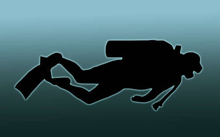 diver: Blue Background Silhouette of scuba diver swimming with gear Stock Photo