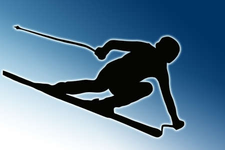 Blue Background Sport Silhouette - Skier speeding down slope  photo