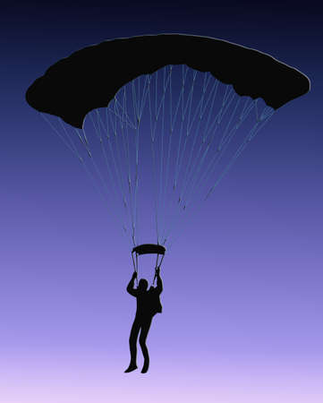 Blue Background Silhouette of sky diver with open parachute Stock Photo - 11622215