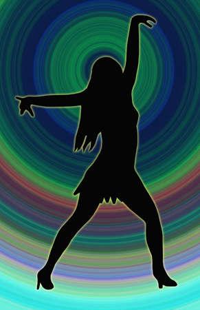 beine spreizen: Color Circle Zur�ck Dancing Girl mit ausgebreiteten Armen in Sexy Pose Silhouette Lizenzfreie Bilder