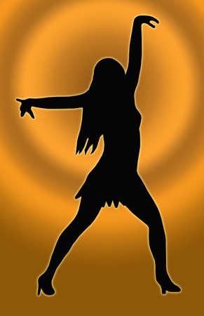 heals: Gold Circle Background Dancing Girl with Spread Arms in Sexy Pose  Silhouette