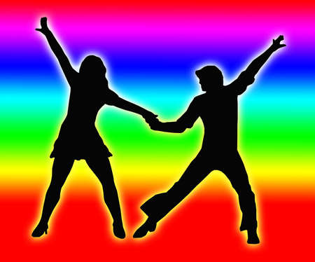 Color bands Back Dancing Couple Silhouette in 1970s dance Pose photo