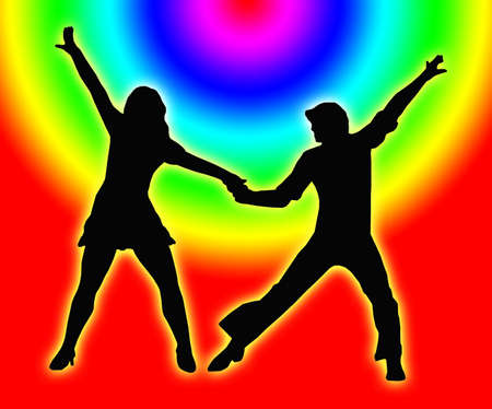 jive: Color Circle Background Dancing Couple Silhouette in 1970s dance Pose
