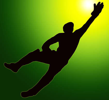 Green Gold Back Sport Silhouette Wicket Keeper Dive  photo