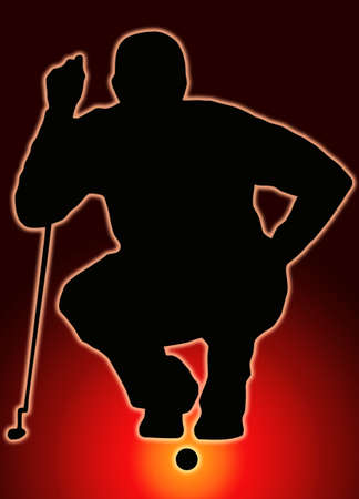 Glow Ball Sport Silhouette Golfer Sizing put up