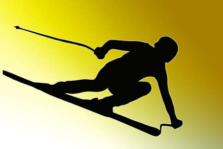 Gold back Sport Silhouette Skier speeding down slope  photo