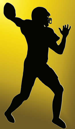 Golden Back Silhouette - American Football player throws pass Stock Photo - 11622217