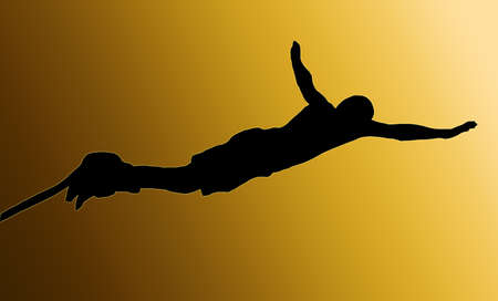 Golden Back Isolated Image of a Male Bungee Jumper Diving Forward