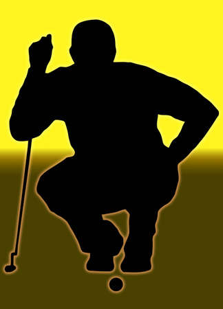 Golden Back Glow Ball Sport Silhouette Golfer Sizing put up Stock Photo - 11622180