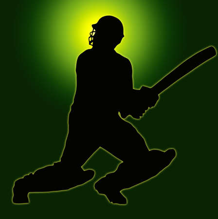 Green Gold Back Sport Silhouette Cricket Batsman  photo