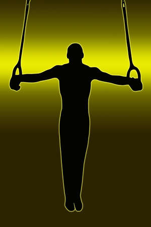Green Gold Back Sport Silhouette Gymnast on rings Stock Photo - 11622178