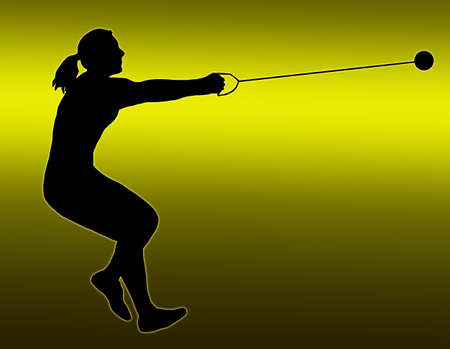 Green Gold Back Isolated Image of a Female Hammer Thrower photo