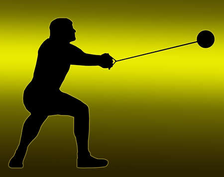 Green Gold Back Isolated Image of a Male Hammer Thrower photo
