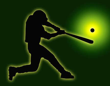 home run: Green Back Baseball Batter Hitting Ball with Bat for Home Run Stock Photo