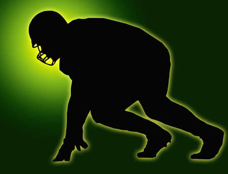 Green Glow Silhouette American Football Player Scrimmage photo