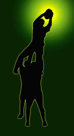 rugby player: Green Glow Sport Silhouette - Rugby Players Supporting Lineout Jumper Catching the Ball