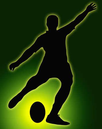 pelota rugby: Glow Green Ball Silueta Deporte - Rugby lugar Kicker fútbol pateando la pelota