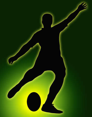 Green Glow Ball Sport Silhouette - Rugby Football Kicker place kicking the ball Stock Photo