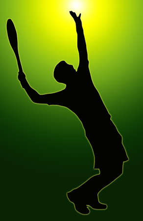 Green Glow Sport Silhouette - Tennis Player Serving - Ball in air photo
