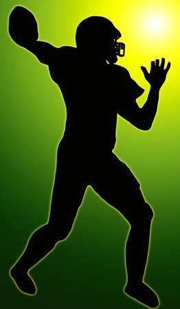 Green Glow Sport Silhouette - American Football player making ready to throw pass photo
