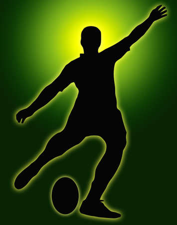 sport logo: Green Glow Sport Silhouette - Rugby Football Kicker place kicking the ball Stock Photo