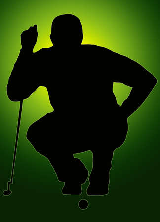 Green Back Glow Ball Sport Silhouette Golfer Sizing put up Stock Photo - 11622174