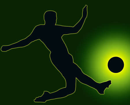 Green Back Sport Silhouette Soccer player kicking ball Stock Photo - 11622171