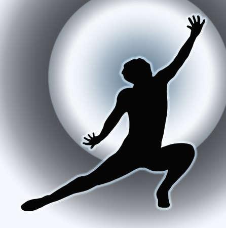 Spotlight Back Dancing Lady Kneeling Spread Leg Pose Silhouette photo