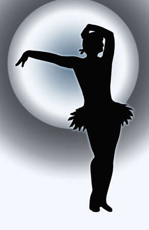 Spotlight Back Dancing Girl with Outstretched Arm Offering Hand Silhouette photo