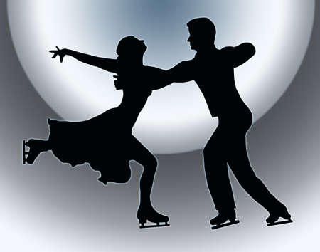 Spotlight Back Silhouette of Ice Skater Couple in Embrace Back Kick photo