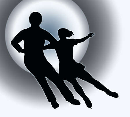 Spotlight Back Silhouette of Ice Skater Couple Side by Side Turn photo