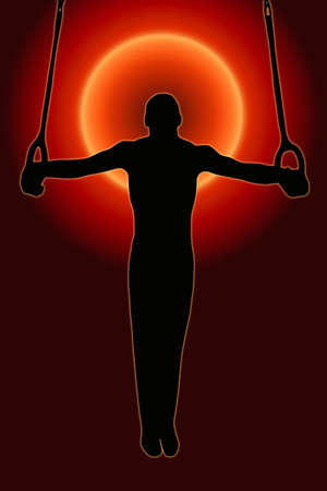 Sunset Back Sport Silhouette Gymnast on rings Stock Photo - 11622173