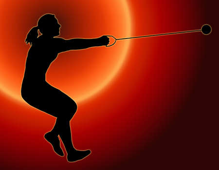 hammer throw: Sunset Back Isolated Image of a Female Hammer Thrower