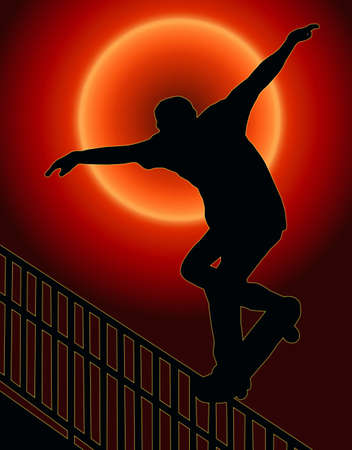 Sunset Back Skateboarding Skater do Nosegrind Rail Slide with Board Silhouette photo